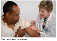 Nervous Nurse Needs Hand To Hold While Administering Flu Shot